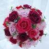 ●濃いピンク~ピンクグラデーションラウンドブーケ 大阪の花嫁様への画像