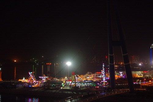 中国大連生活・観光旅行ニュース**-大連 星海公園の遊園地の夜景