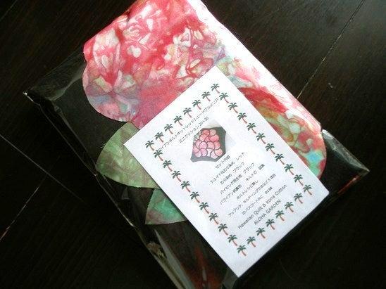 $Hawaiian Quilt Garden-レッドシェードプルメリアキット表