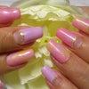 ピンク&パープル逆フレンチ×タイダイ柄の画像
