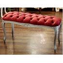 ロマンチック 姫系 アンティーク家具 シャビーシック 家具 インテリア 茶色 ブラウン ファニチャー 椅子 スツール チェア いす レトロ クラシッククラシカルベロアロングスツール