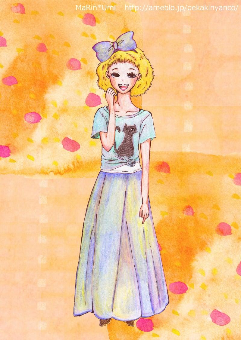 ガールズイラスト☆ねこtシャツの女の子!背景つけました。|まりん