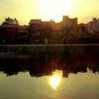 鴨川に映る夕日