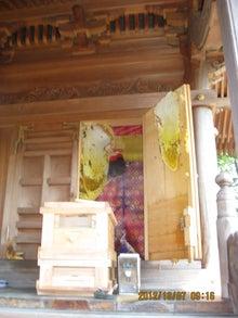 社殿の日本みつばち造巣1