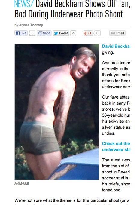 ベッカム ブリーフ姿 股間を隠しながら恥ずかしがる貴重な赤面写真が流出の記事より