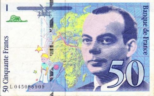 penのフランス語日記 Ameba出張所-星の王子さま 50フラン札 表