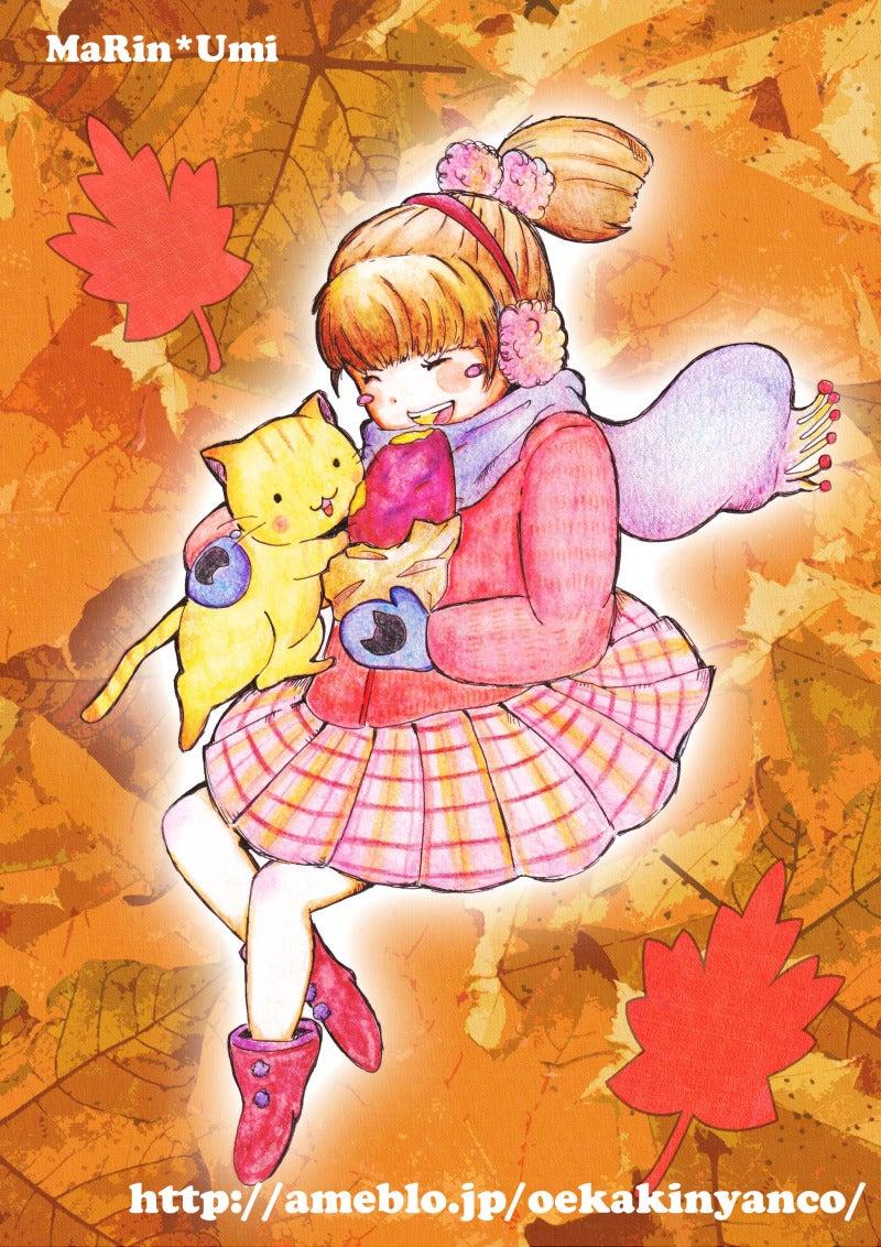 やきいもとにゃんこと女の子イラスト第一弾!秋の落ち葉な背景