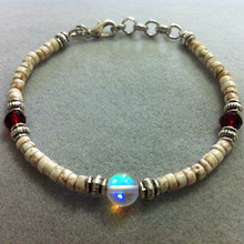 Rumi Collectionのブログ-natural howlite3x4mm, cut glass beads, lunaflash