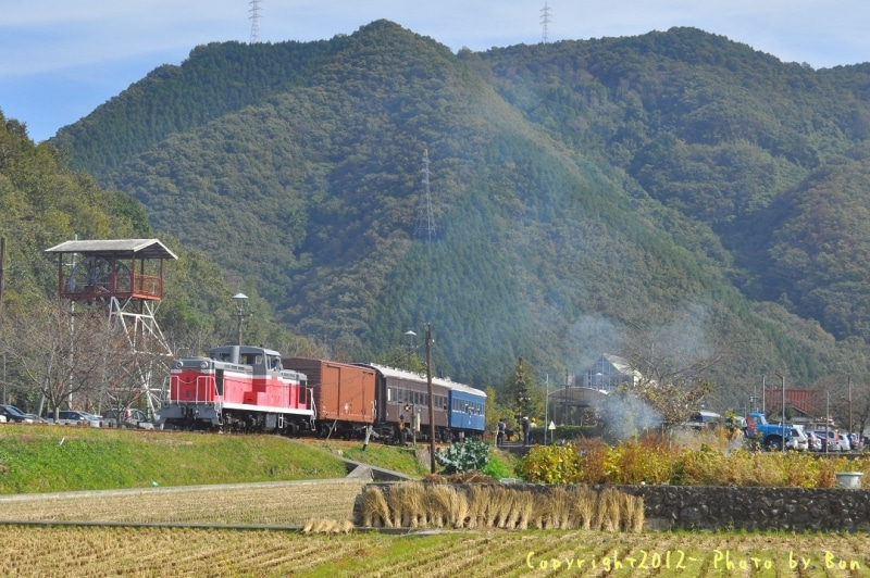 駅長猫コトラの独り言~旧 片上鉄道 吉ヶ原駅勤務~-秋晴れの中、混合貨物も走ったで