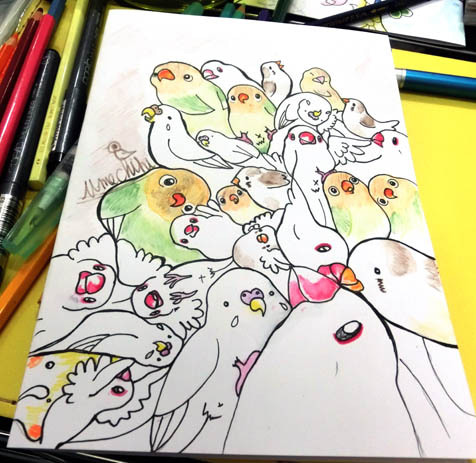 ようこそ!とりみカフェ!!~鳥カフェでの出来事や鳥写真~-鳥まみれ組み絵~むぎゅーー~