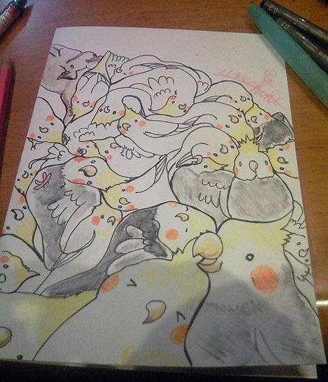 ようこそ!とりみカフェ!!~鳥カフェでの出来事や鳥写真~-鳥まみれ組み絵ーオカメインコいっぱい!ー