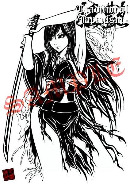 新作イラストグッズ 女性 着物 日本刀 Tシャツ 和風イラスト 日本刀 着物 和服 セクシーガールズ 美人画 美少女画 制作