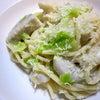 サトイモのクリームスパゲッティ/芽キャベツと白インゲン豆のマリネの画像