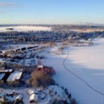 冬のフィンランド、湖…