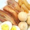夕食☆豚の角煮 しらすサラダ お野菜たっぷりお味噌汁の画像