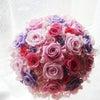 ●ピンク×紫の大人可愛いラウンドブーケを東京都の花嫁様へお届けしました。の画像