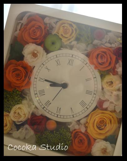 14_スクエア時計のオレンジアレンジ