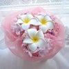 ●さくらとプルメリアのシェアブーケを東京都ハワイ式の新婦様へお届けしました。の画像