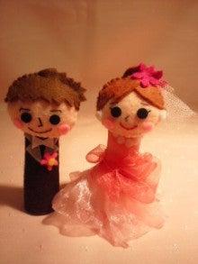 $Handmade glove  puppet          フェルトで指人形-新郎新婦ドレス赤