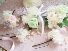 立川 フラワー教室 お好きなお花でアレンジしてインテリアや贈り物に アトリエクリスタルローズ-生徒様の作品 ウェデイングアイテム