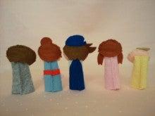$Handmade glove  puppet          フェルトで指人形-バック
