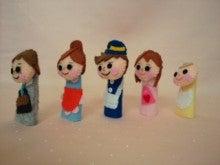 $Handmade glove  puppet          フェルトで指人形-ななめから