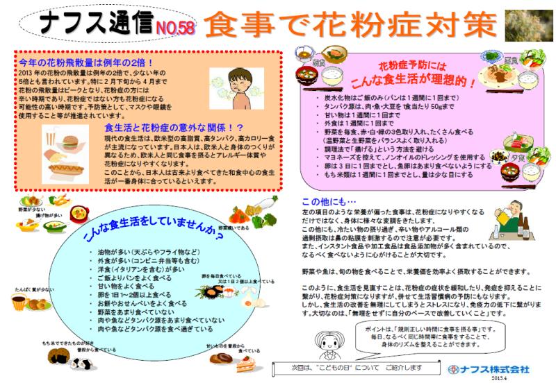 症 対策 食事 花粉