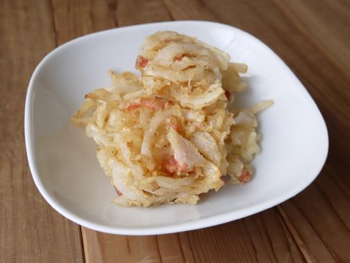 ひよこ食堂-新玉ねぎとベーコンのかき揚げ01