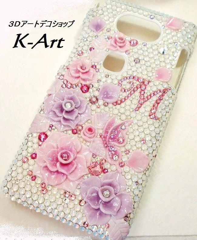 3DアートデコショップK-Art【スマホデコ  デコ電】-スマホデコデザイン白にピンクの3D薔薇