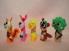 $Handmade glove  puppet          フェルトで指人形-やまのおんがくか ななめ