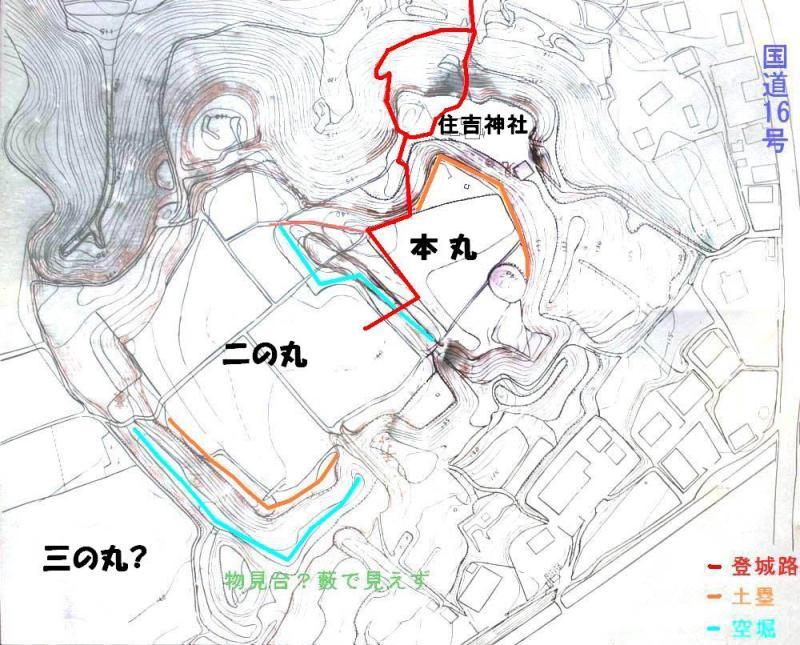 片倉城/縄張図
