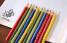 手づくりミツロウキャンドル  a k a r i z m -アカリズム--色えんぴつキャンドル