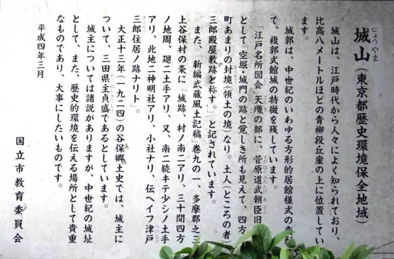 三田氏館/国立市の説明板