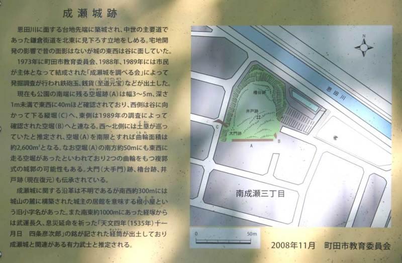 成瀬城/説明板