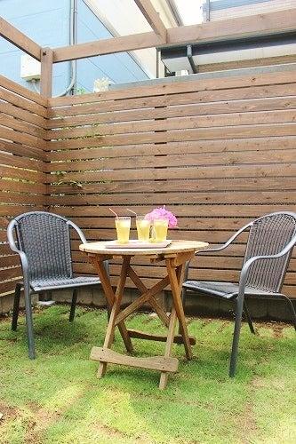 ナチュラルガーデニング・エクステリアのデザインと施工、埼玉県さいたま市 テラス木蓮の「小庭カフェ」