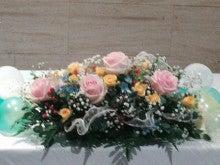 立川  フラワー教室 お好きなお花でアレンジしてインテリアや贈り物に アトリエ  クリスタルローズ-ウェデイング装飾~メインテーブルのお花
