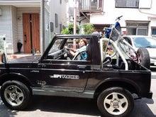 $物欲もりさんのブログ-JA71ジムニー幌車に自転車を積む