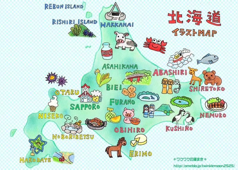北海道イラストマップ地図 ワクワクの種まき