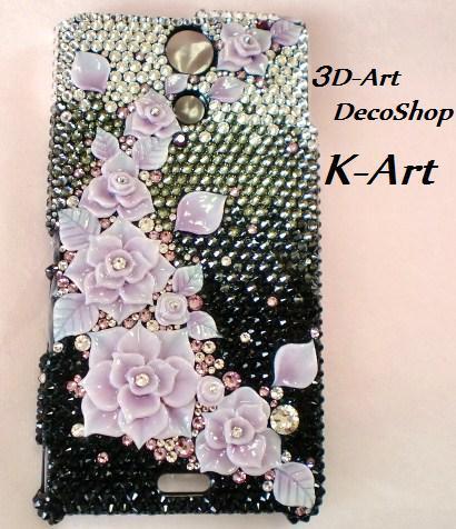 3DアートデコショップK-Art【スマホケースデコ (スマホデコ) デコ電】-スマホケースデコ、3Dアート 紫の薔薇 黒スワロ