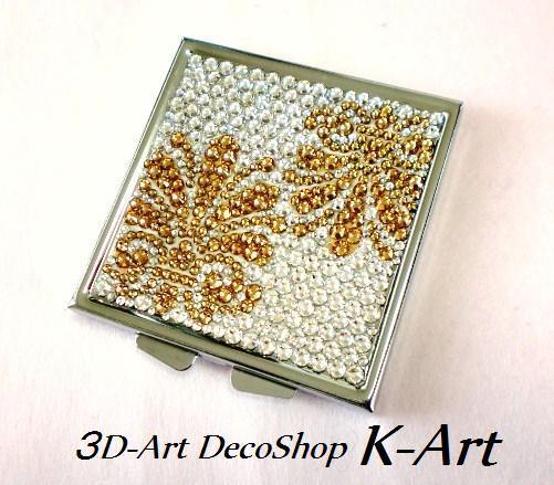 3DアートデコショップK-Art【スマホケースデコ (スマホデコ) デコ電】-デコミラー ゴールド・ダマスク