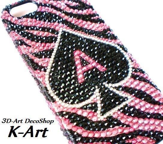 3DアートデコショップK-Art【スマホケースデコ (スマホデコ) デコ電】-スマホケースデコ ピンクのゼブラ スワロ