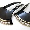 ■黒べっ甲18Kパール付礼装用のべっ甲かんざし2013・2種 結婚式、黒留袖、訪問着におすすめ。の画像