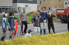 浄土宗災害復興福島事務所のブログ-2013100506ふくスマ稲刈り④稲刈り説明