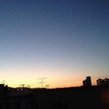先日の夕日。