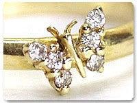 蝶のダイヤモンド18金製ゴールドリング