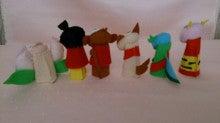 $Handmade glove  puppet          フェルトで指人形-桃太郎、バック