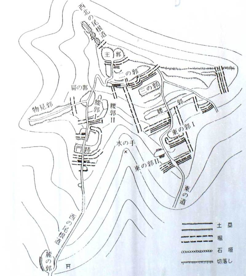 龍ヶ谷城(千馬山)/縄張図