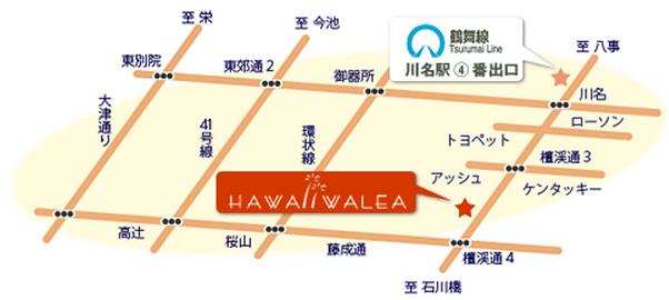 ハワイワレアの地図