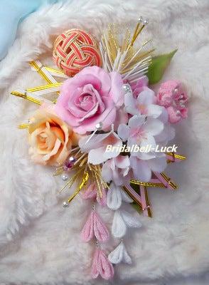 バラと桜の和装髪飾り