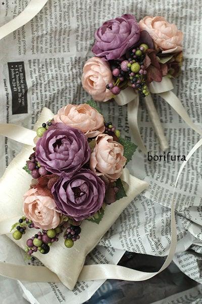 リストブーケ ピンク紫